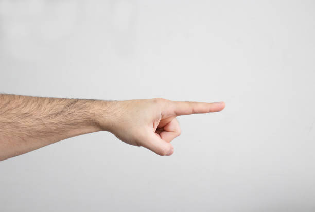 Pointing with Index Finger stock photo