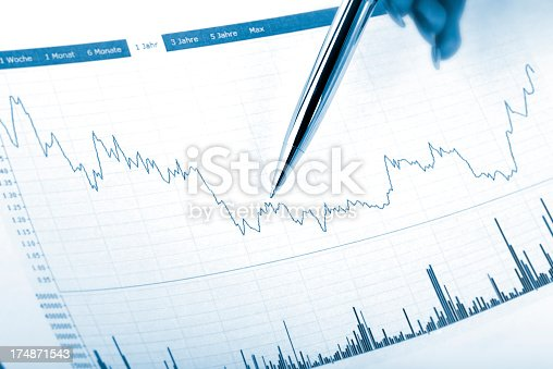1044507110istockphoto pointing with silver business pen on a chart document 174871543