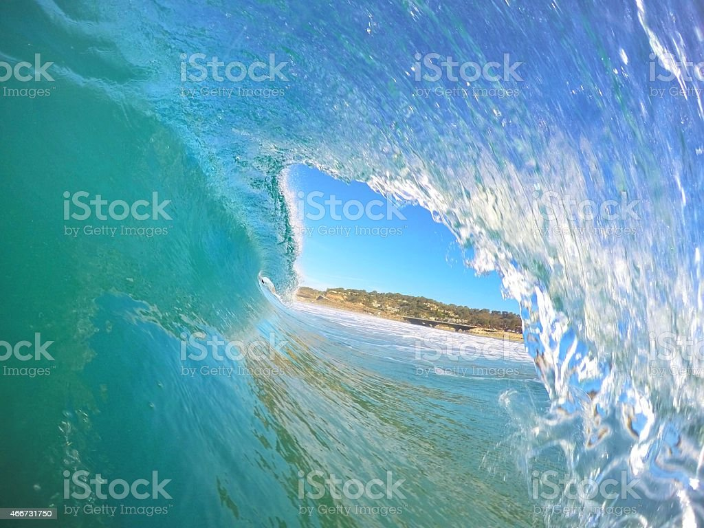 Point-of-view from inside a wave tunnel stock photo