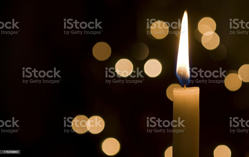 Points of light in the darkness stock photo