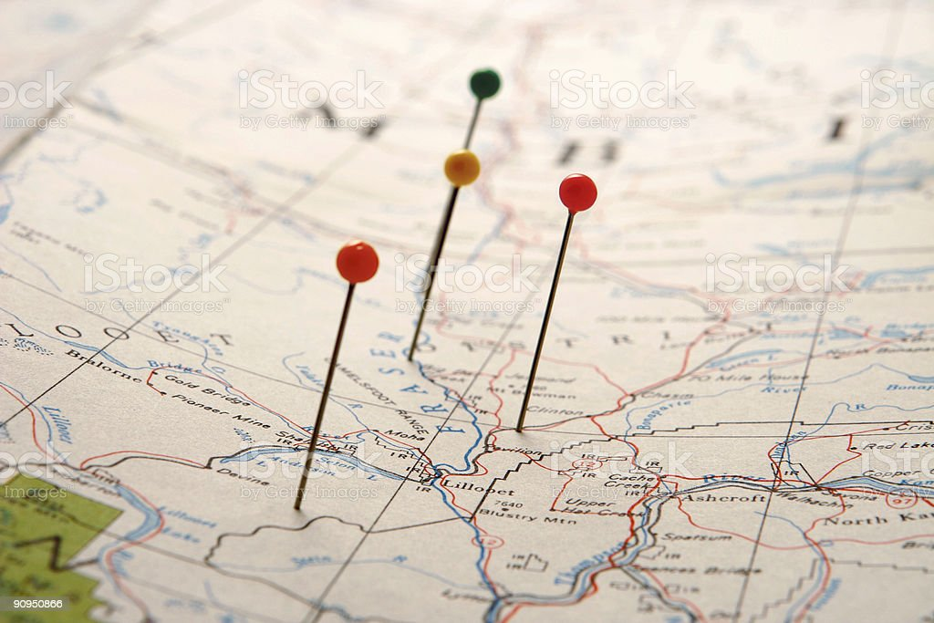 Points on a Map stock photo