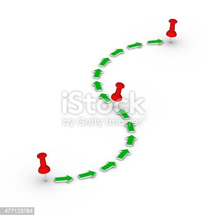 istock Point-to-point route. Red thumbtacks and green arrows. 477123764