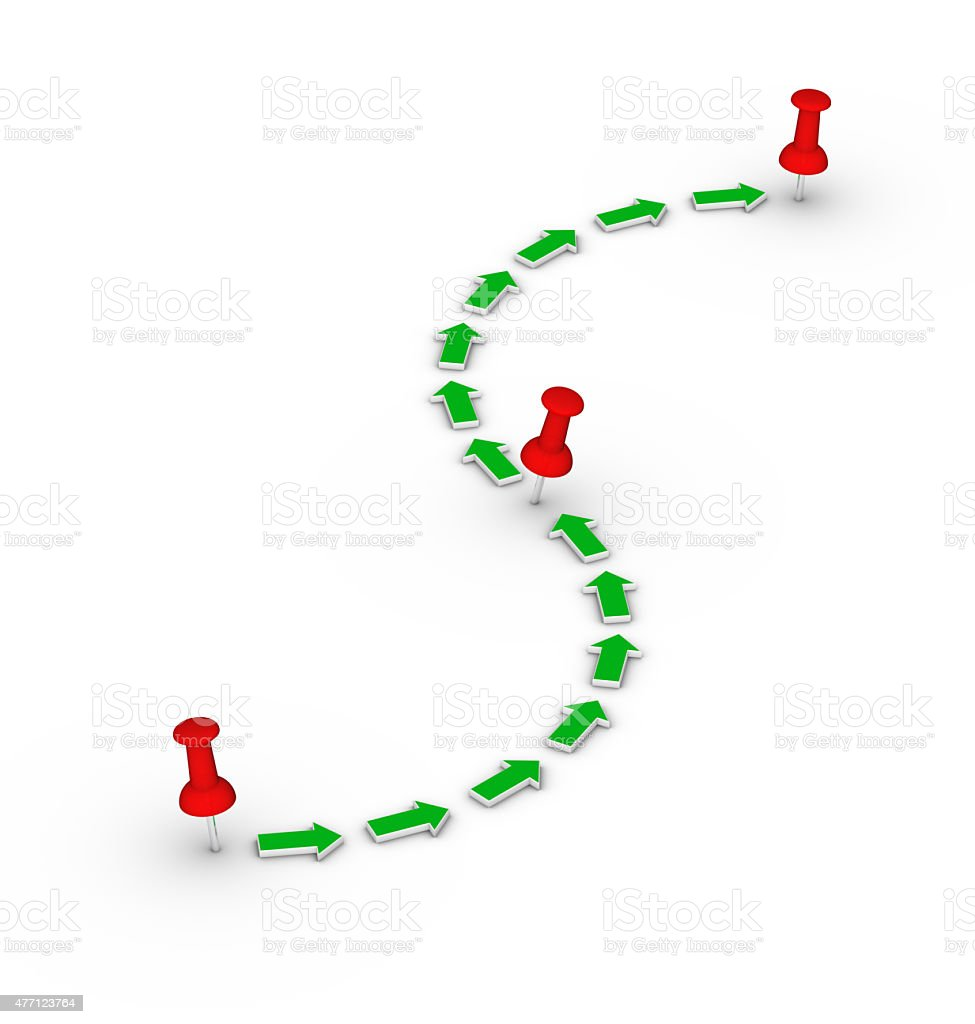 Point-to-point route. Red thumbtacks and green arrows. stock photo