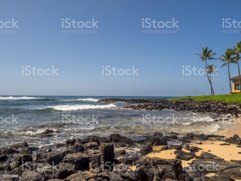 Poipu Beach in Kauai, Hawaii stock photo