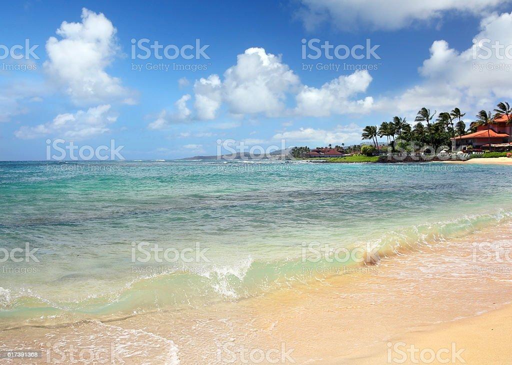 Poipu public beach stock photo