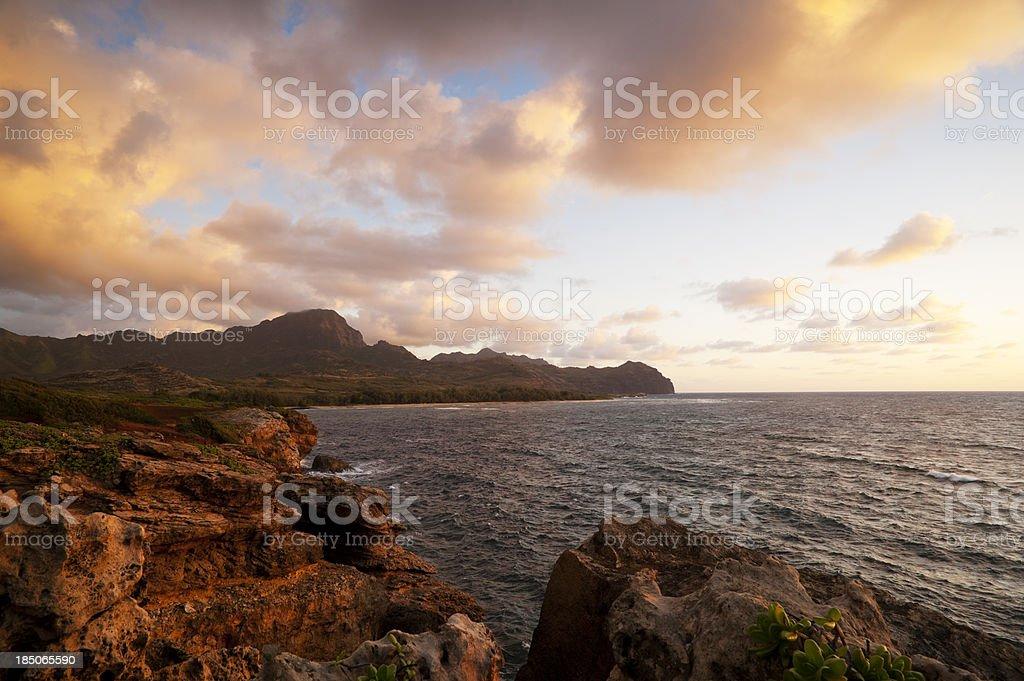 Poipu Sunset Hawaii stock photo