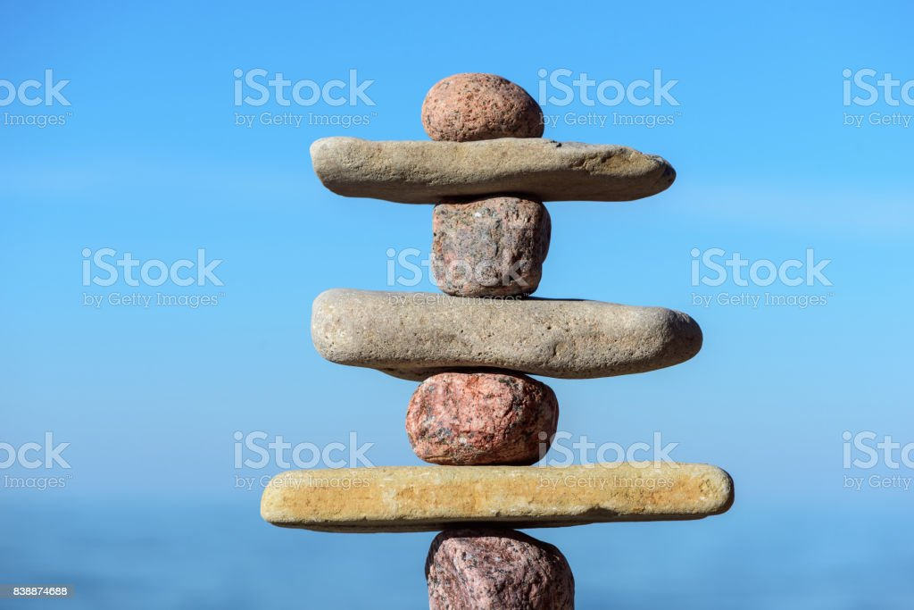 Poise of pebbles stock photo