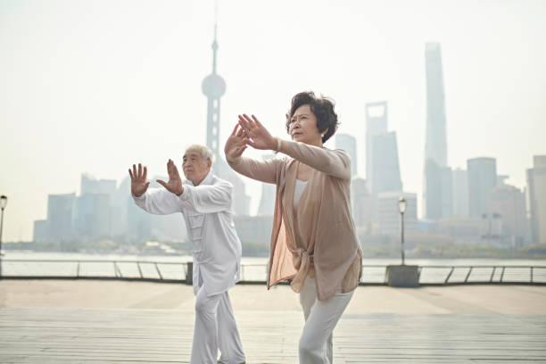 Poised Senior Chinesisches Paar tun Tai Chi auf dem Bund – Foto
