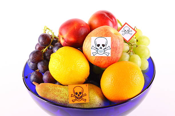Poisoned fruits By Pestiziede poisoned fruit in a fruit bowl-cut out irradiation stock pictures, royalty-free photos & images