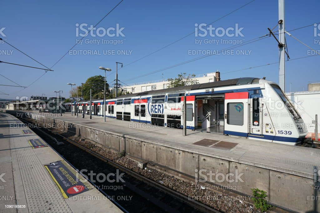 SNCF Poissy station, located west of Paris stock photo