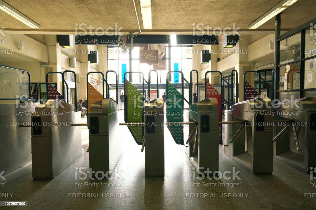 Poissy station on RER A line near Paris, France stock photo