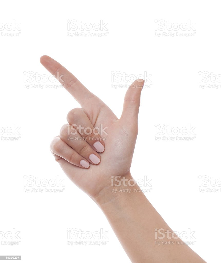 poiting up with finger on white stock photo