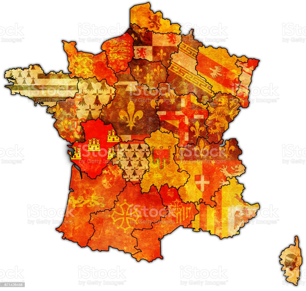Poitou France Map.Poitoucharentes On Old Map Of France Stock Photo More Pictures Of
