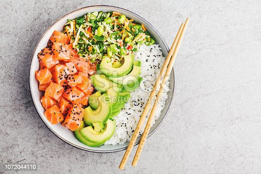 istock Poke bowl with salmon served in bowl 1072044110