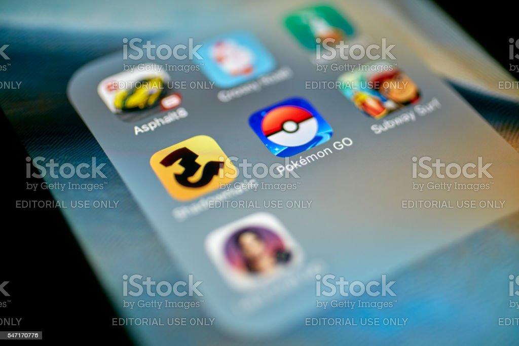 Pokemon Go App Icon on iPhone stock photo