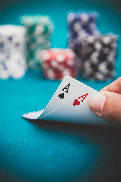 poker aces pair - pair stock photos and pictures