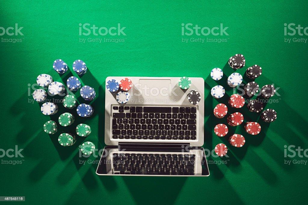 Poker and casino online gaming stock photo