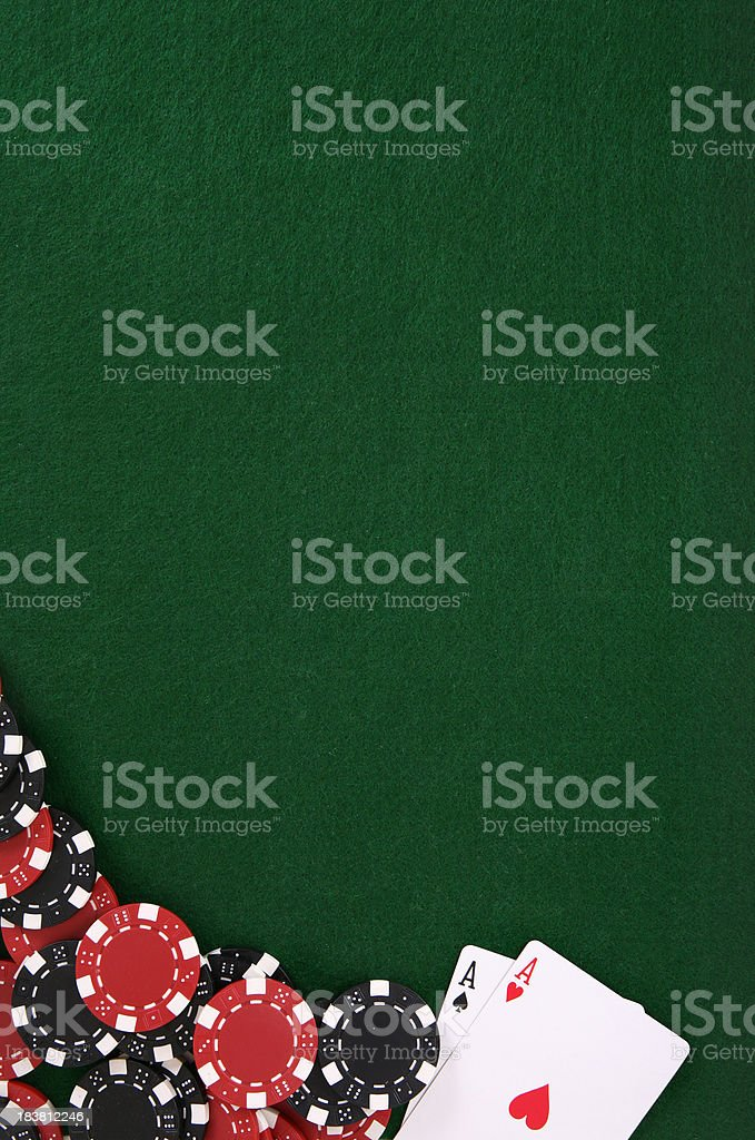 Poker and Chips Felt Background stock photo