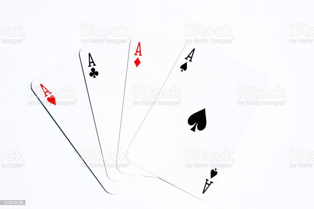 poker card four aces on white background stock photo