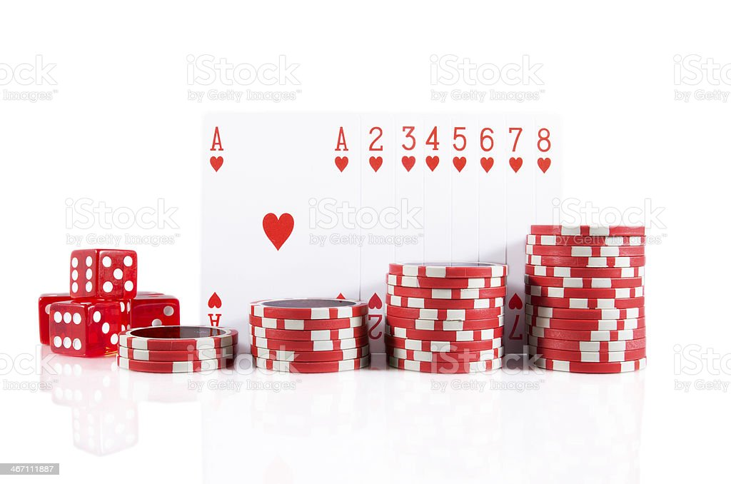 poker cards, chips, and red dice over white isolated royalty-free stock photo