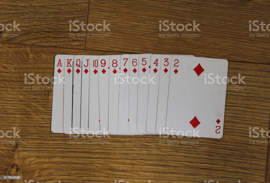 Poker cards diamond set two color classic design on wooden background stock photo