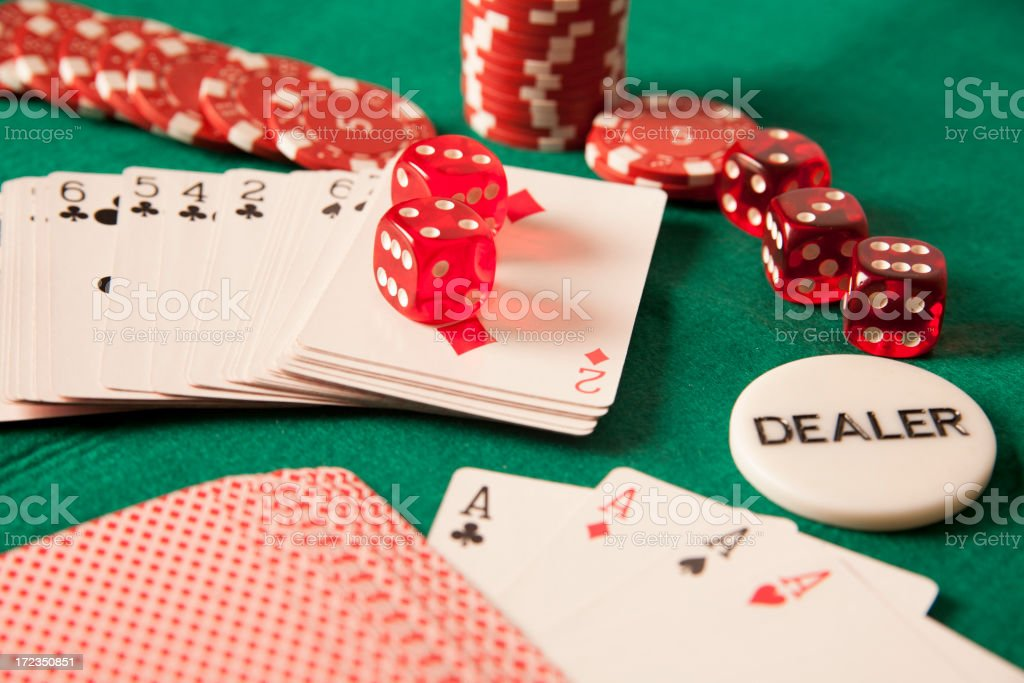 four aces, game dices and gambling chips.