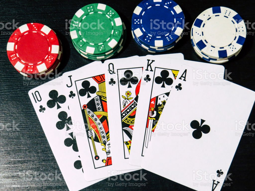 Poker Cards In Royal Flush And Poker Chips Stock Photo Download