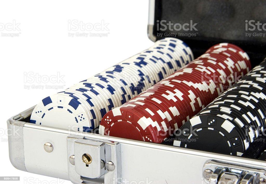 Poker chip case stock photo