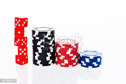 istock Poker chips and dice on white background 957638510