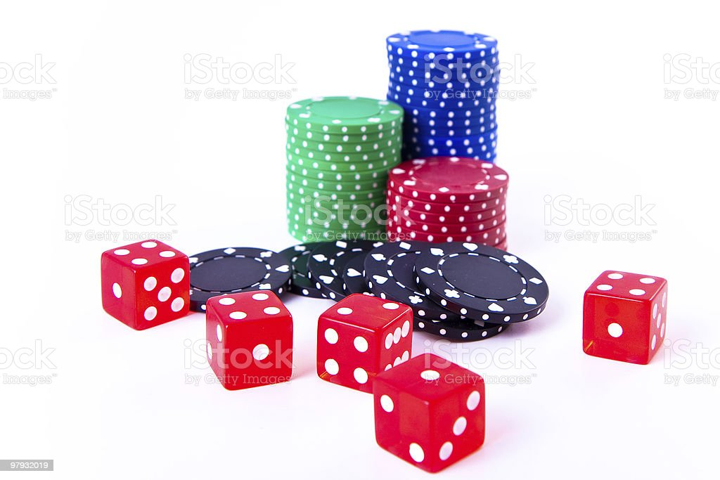 poker chips and dice royalty-free stock photo