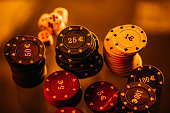 Poker chips and dices.