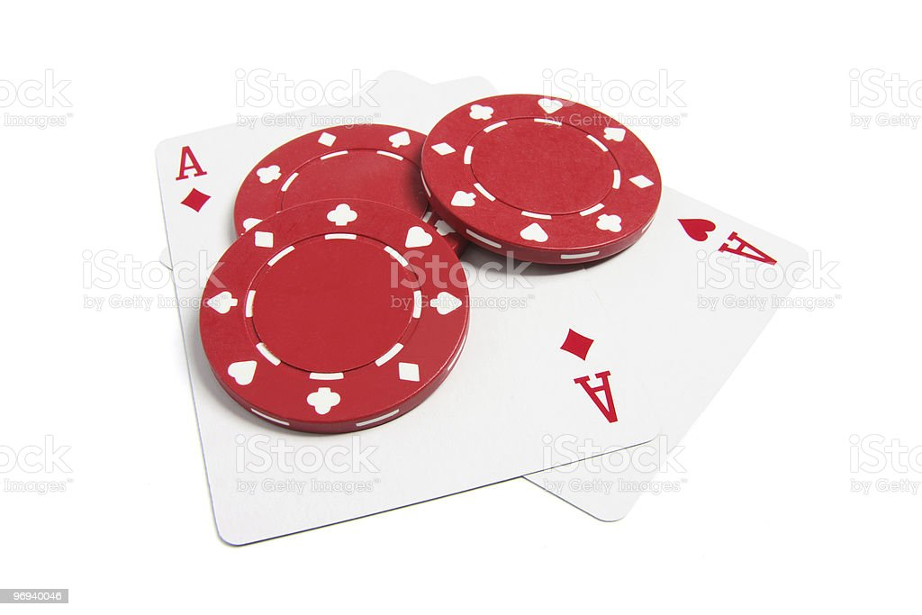 Poker Chips and Playing Cards royalty-free stock photo