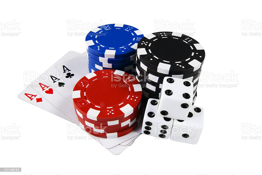 Poker chips, cards & dices stock photo
