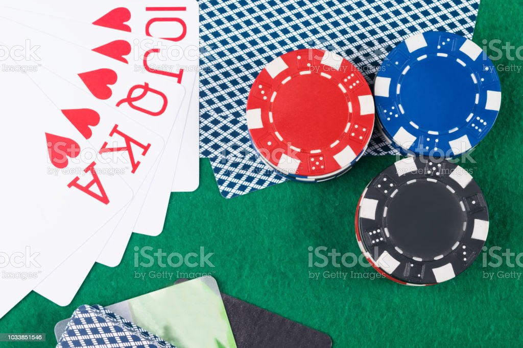 Poker Chips With Cards And A Winning Combination Of Cards Stock Images Page Everypixel