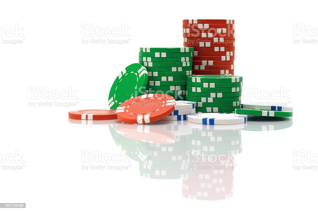 Poker Chips With Reflection royalty-free stock photo