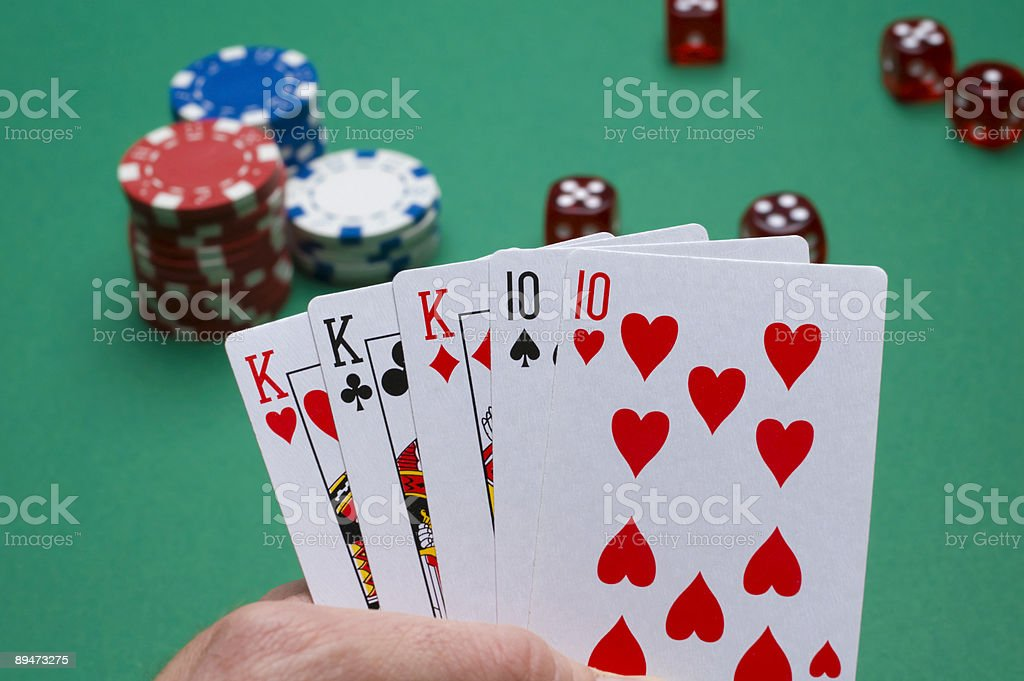 Poker fullhouse stock photo