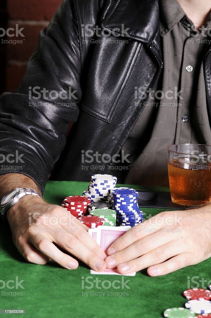 Poker Game Series: Hand Close-up royalty-free stock photo