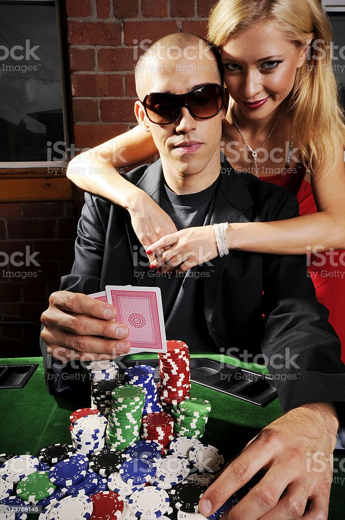 Poker Game Series: Player and Groupie royalty-free stock photo