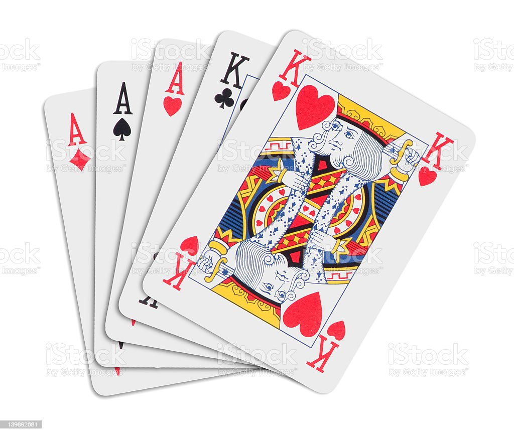 Poker hand consisting of aces full of kings stock photo