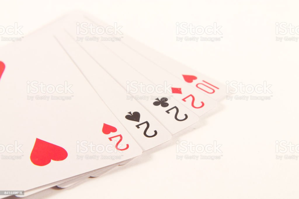 Poker hand. Four of a Kind Poker. four deuces. stock photo