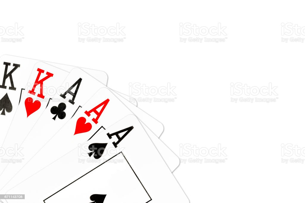 poker hand full house of aces and kings stock photo