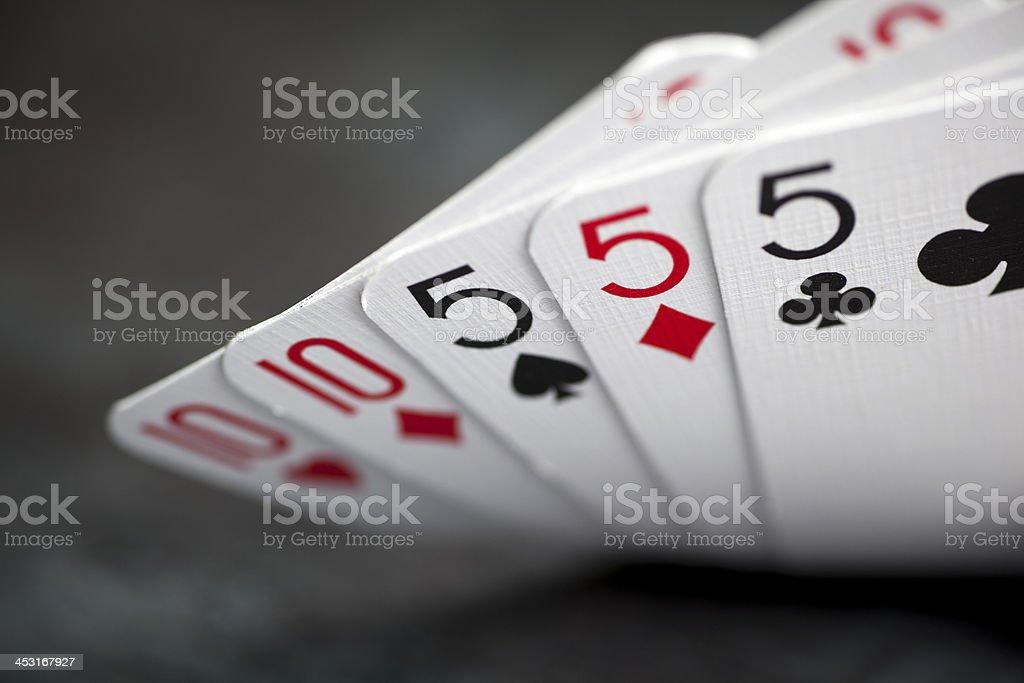 Poker hand, full house stock photo