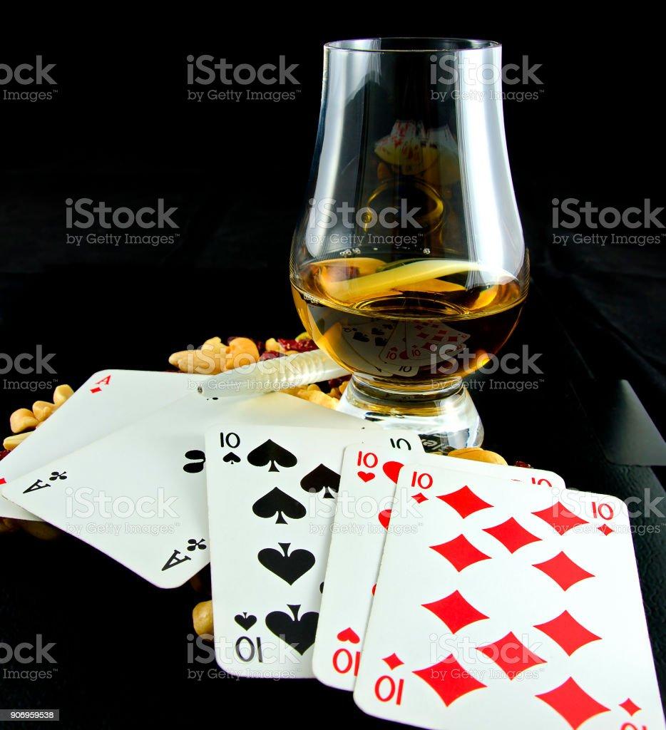 poker hand Fullhouse stock photo