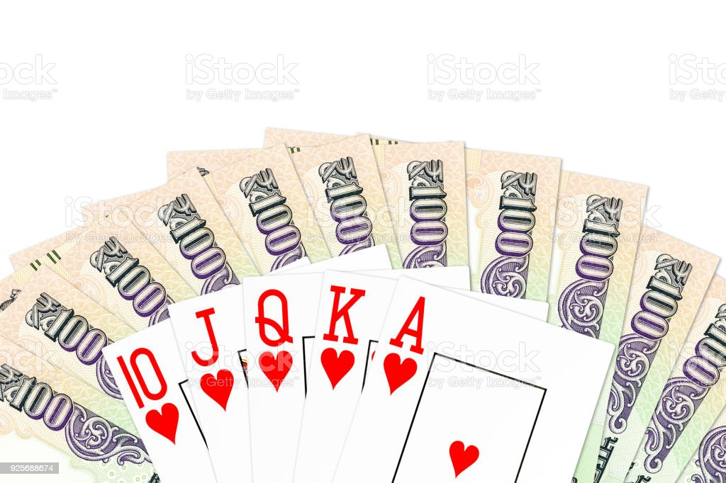 poker hand royal flush in hearts against indian rupee bank notes isolated on white background stock photo