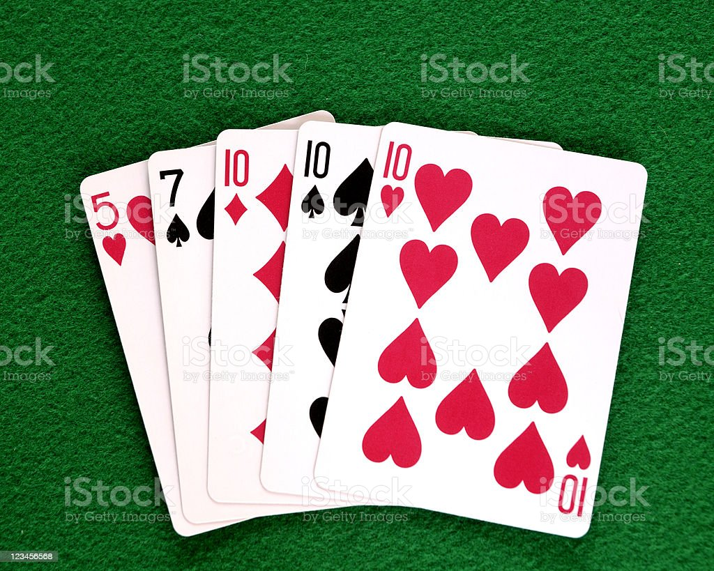 Poker Hand, Three of a Kind royalty-free stock photo