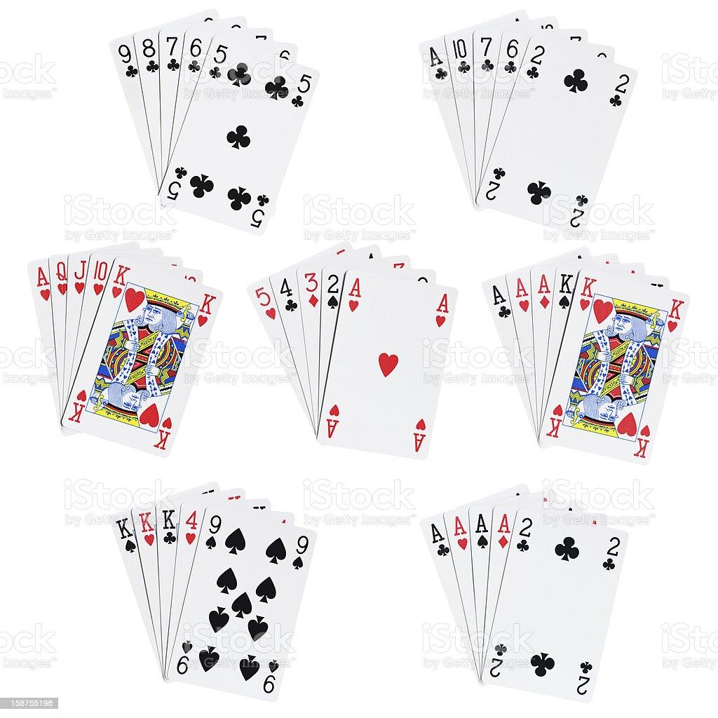 Poker hands stock photo
