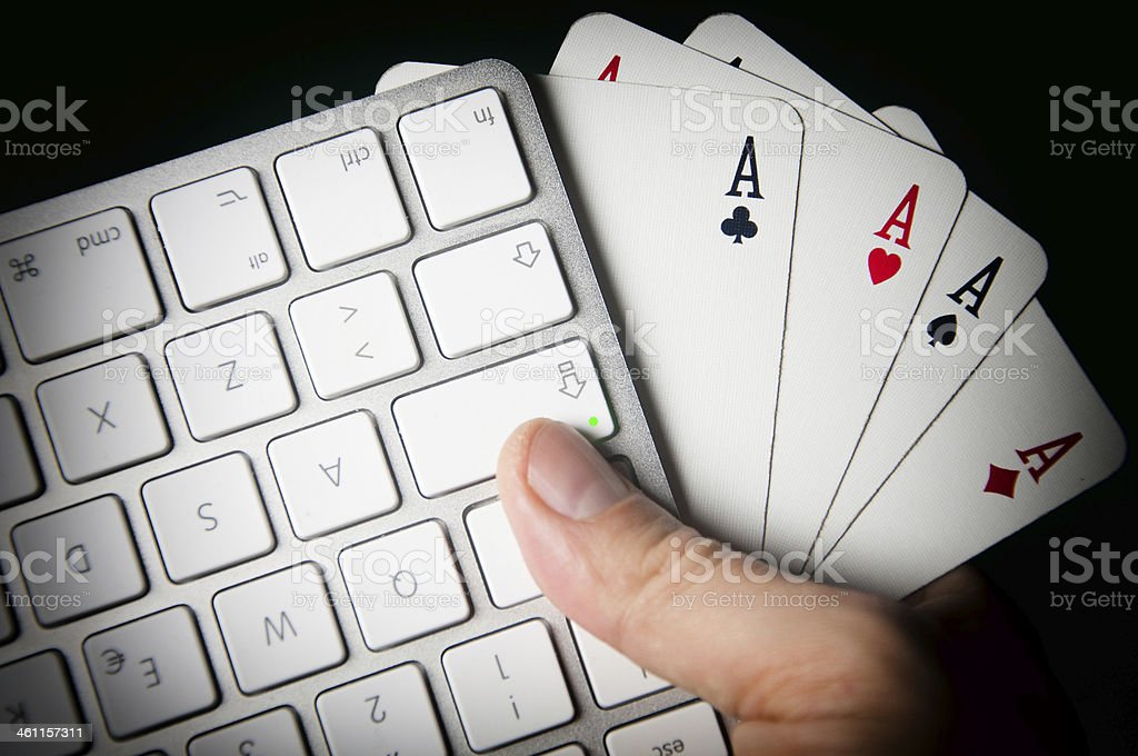 Poker On-line. stock photo