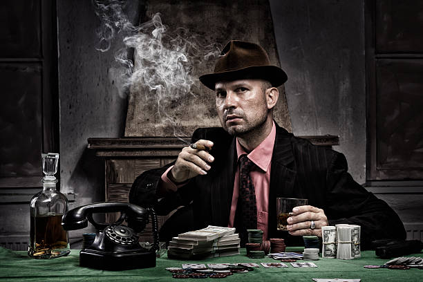 """Poker """"Poker game, money on the table, cigar smoke - The grain and texture added"""" gangster stock pictures, royalty-free photos & images"""
