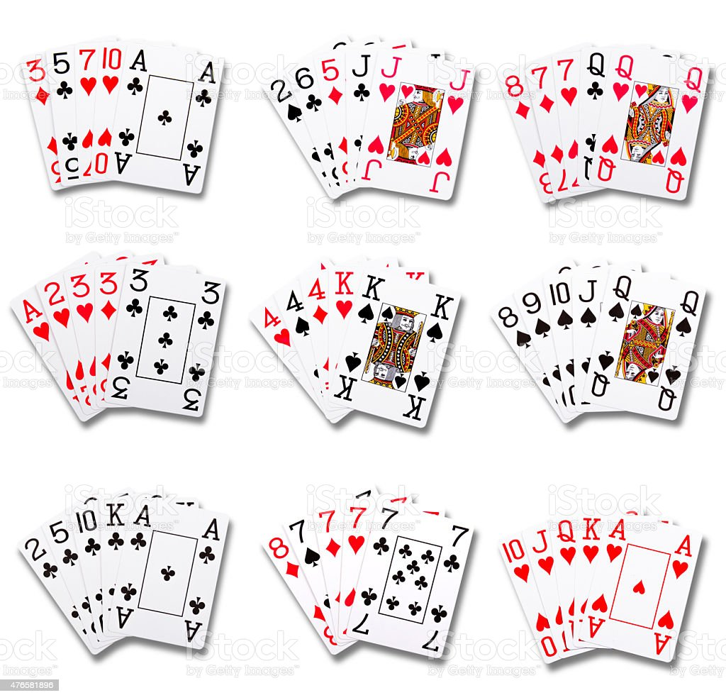 Poker ranking hands combinations stock photo