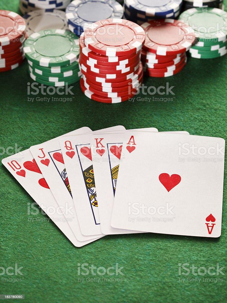 Poker, royal flush and gambling chips. royalty-free stock photo